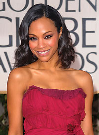 Zoe Saldana Best Hairstyle for a Strapless Dress