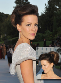 kate beckinsale long hair updo