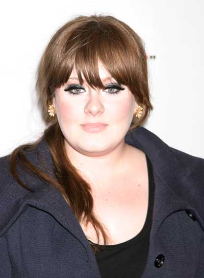 Adele's Long, Straight, Brunette Ponytail with Bangs