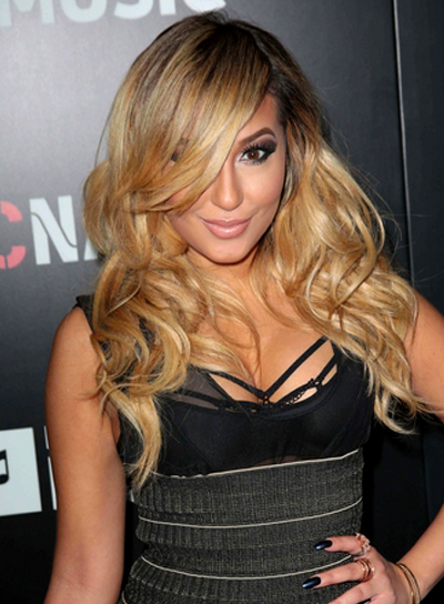 Adrienne Bailon's Long, Tousled, Wavy, Blonde Hairstyle