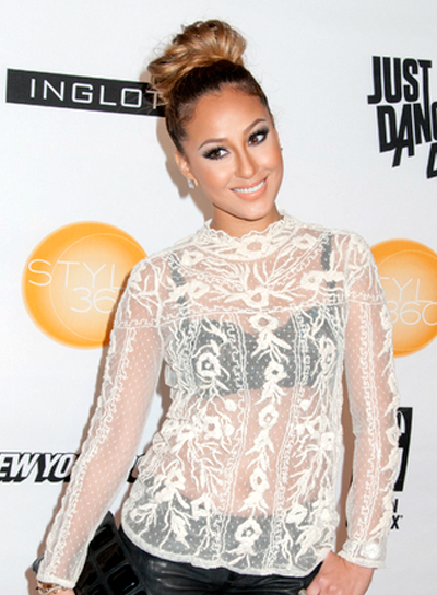 Adrienne Bailon's Chic, Wavy, Party, Updo Hairstyle
