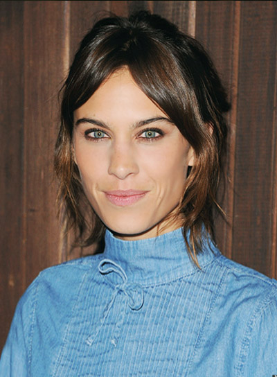 Alexa Chung with a Tousled, Funky, Updo Hairstyle with Bangs Pictures