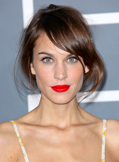 Alexa Chung's Wavy, Tousled, Brunette, Updo Hairstyle