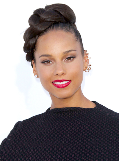 Alicia Keys' Funky, Party, Black, Updo Hairstyle with Braids and Twists