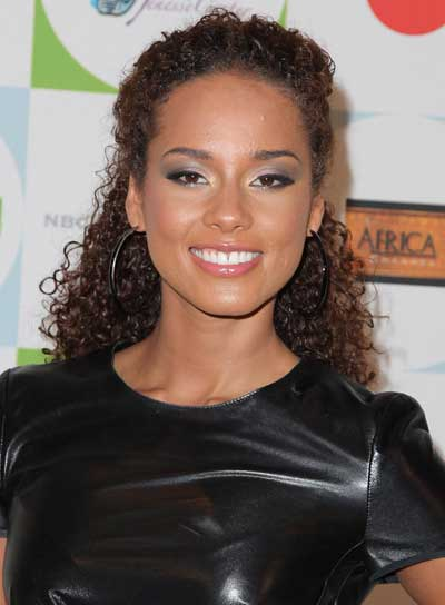 Alicia Keys Long, Curly, Brunette Half Updo
