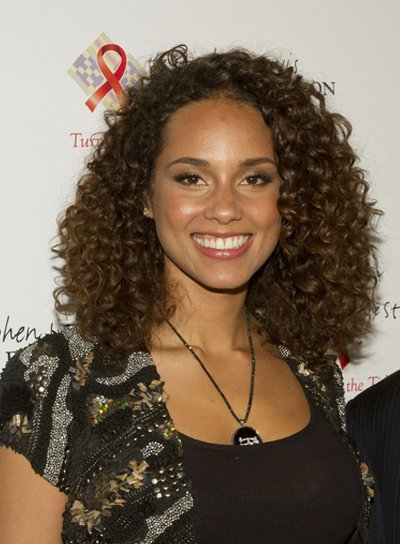 Alicia Keys Medium, Curly, Brunette Hairstyle