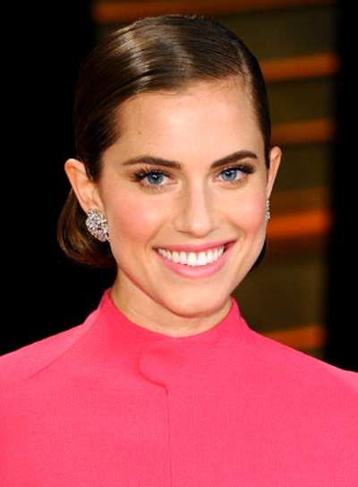 Allison Williams Formal, Brunette, Sophisticated, Updo Hairstyle Pictures