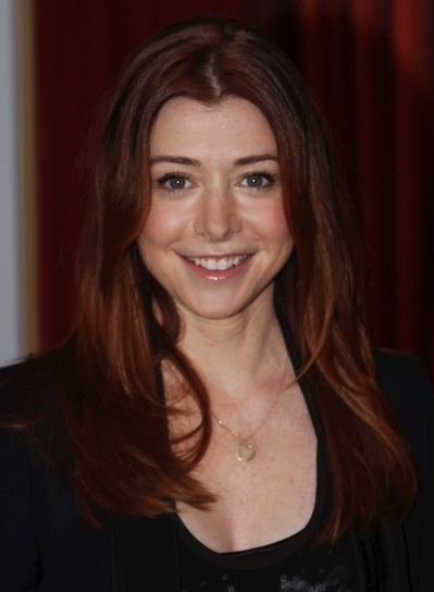 Alyson Hannigan Long, Layered, Straight, Red Hairstyle