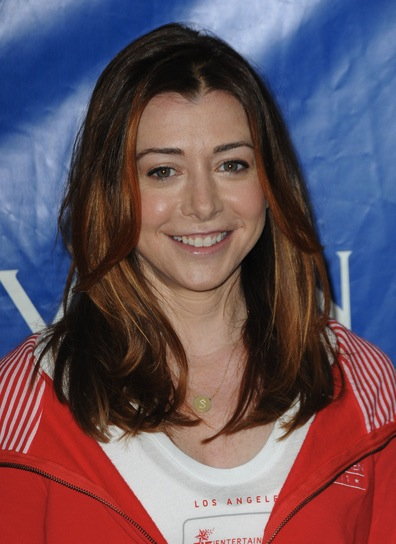 Alyson Hannigan Medium, Red, Straight Hairstyle with Highlights
