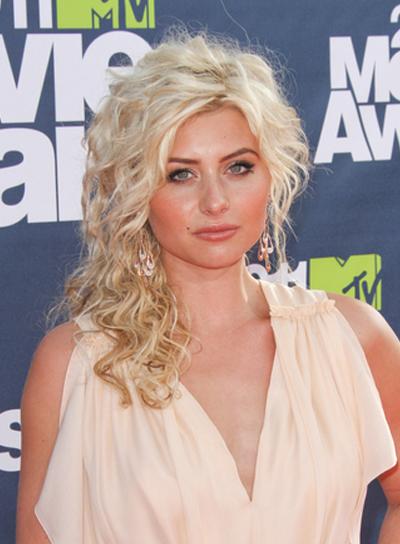 Alyson Michalka Medium, Curly, Half Updo Prom, Blonde Hairstyle