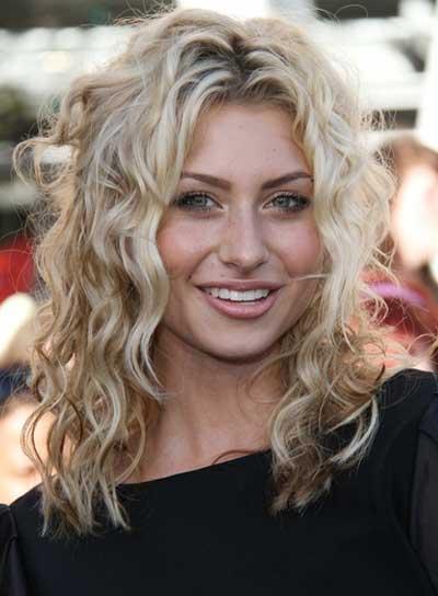Alyson Michalka Medium, Curly, Sexy, Blonde Hairstyle