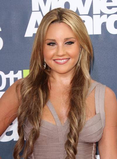 Amanda Bynes Long, Curly, Romantic, Blonde Hairstyle with Highlights