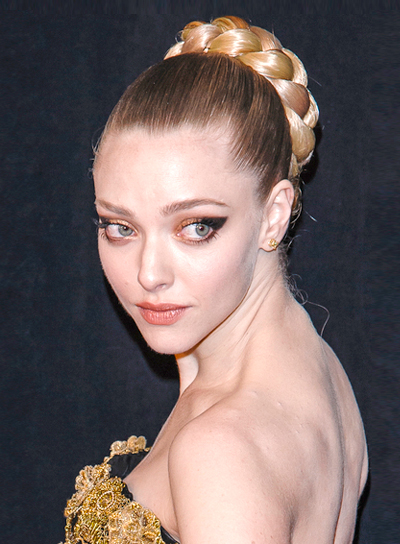 Amanda Seyfried's Romantic, Blonde, Updo Hairstyle with Braids and Twists