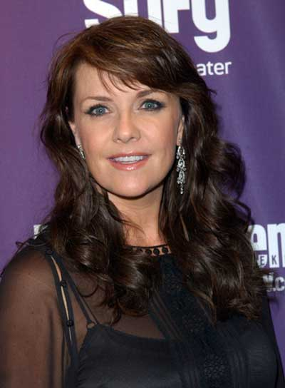 Amanda Tapping Long, Curly, Romantic, Brunette Hairstyle with Bangs