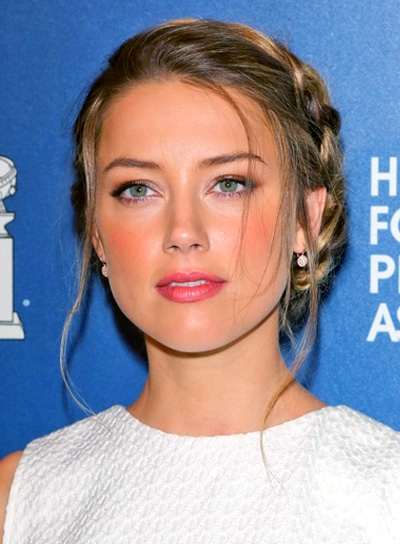Amber Heard's Long, Blonde, Romantic, Updo Hairstyle with Braids