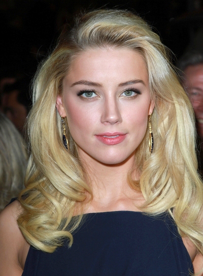 Amber Heard Long, Layered, Sexy, Formal, Blonde Hairstyle
