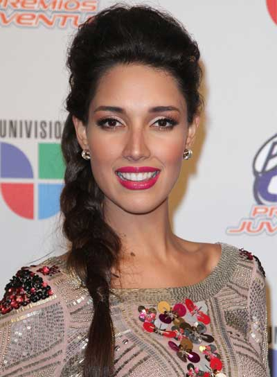 Amelia Vega Long, Sophisticated, Brunette Ponytail with Braids and Twists