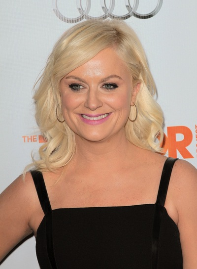 Amy Poehler Medium, Curly, Sophisticated, Blonde, Party Hairstyle with Bangs