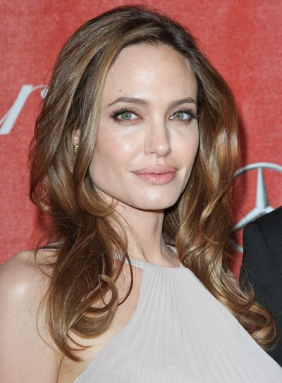 Angelina Jolie Medium, Layered, Sophisticated, Brunette Hairstyle with Highlights