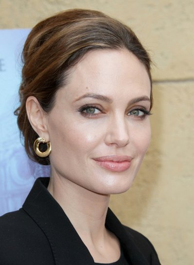 Angelina Jolie Sophisticated, Brunette Updo with Highlights