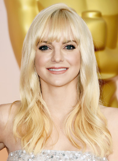 Anna Faris Long, Blonde, Wavy Hairstyle with Bangs