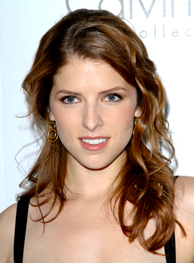 Anna Kendrick's Long, Brunette, Wavy, Half Updo Hairstyle