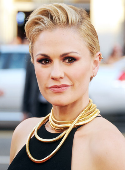 Anna Paquin with a Medium, Blonde, Sophisticated, Updo Hairstyle