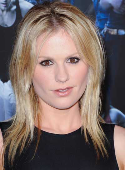Anna Paquin Medium, Layered, Chic, Blonde Hairstyle