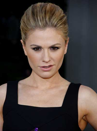 Anna Paquin Straight, Sophisticated, Blonde Updo with Highlights
