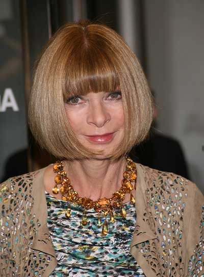Anna Wintour Short, Straight, Sophisticated, Chic Bob with Bangs