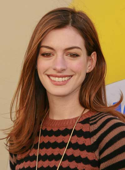 Anne Hathaway Romantic, Chic, Brunette Hairstyle with Highlights