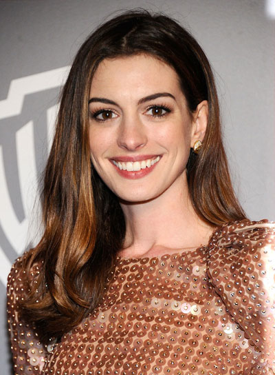 Anne Hathaway Long, Brunette Hairstyle