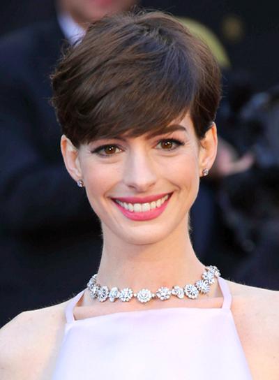 Anne Hathaway's Short, Chic, Brunette, Formal Hairstyle