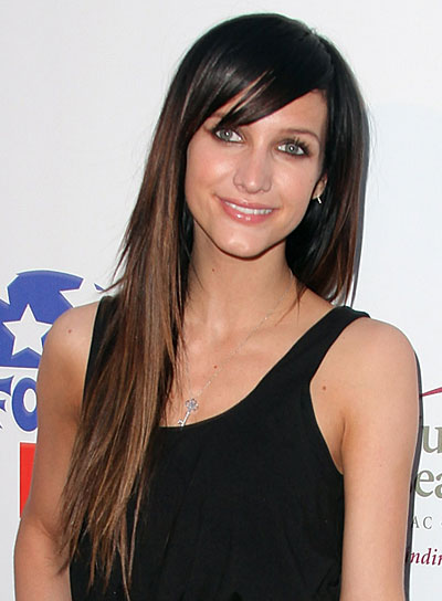 Ashlee Simpson Long, Straight, Brunette Hairstyle with Bangs