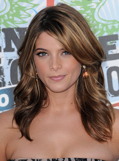 Ashley Greene Medium, Romantic, Brunette Hairstyle