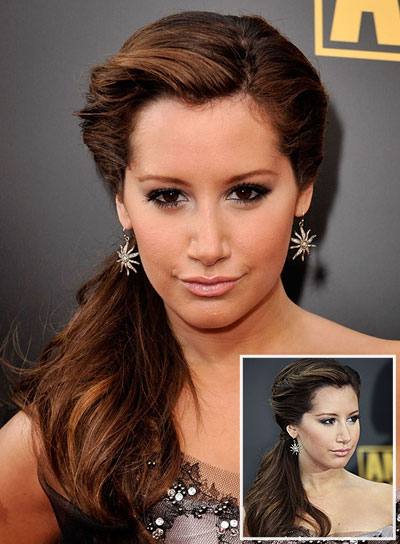 Ashley Tisdale Long, Brunette Ponytail with Braids and Twists