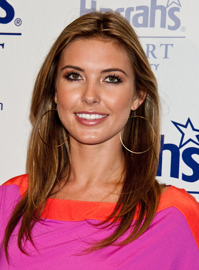 Audrina Patridge Long, Straight, Brunette Hairstyle with Highlights