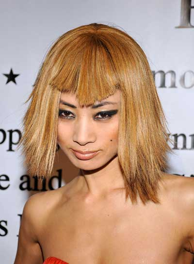 Bai Ling Short, Straight, Funky, Blonde Hairstyle with Bangs