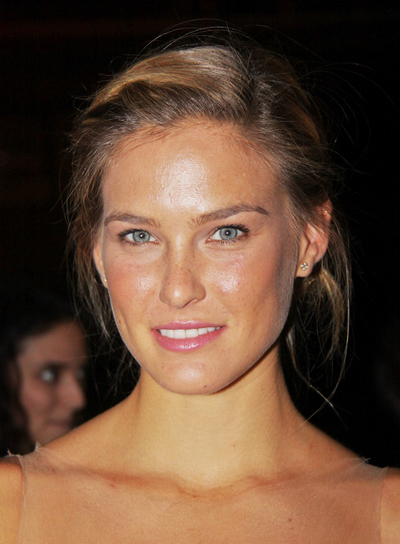 Bar Refaeli Medium, Chic, Brunette Updo with Highlights