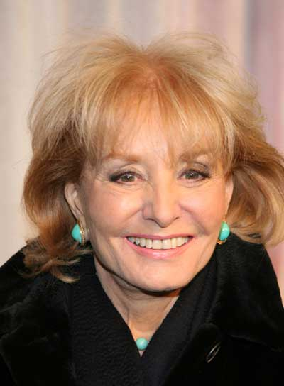 Barbara Walters Short, Sophisticated, Tousled, Blonde Bob with Bangs