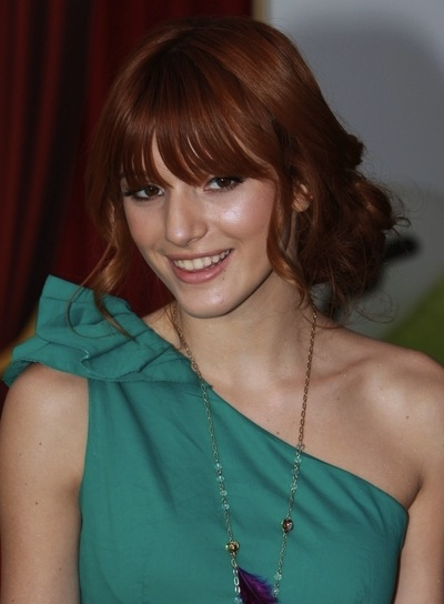 Bella Thorne Sophisticated, Curly, Red, Prom Updo with Bangs