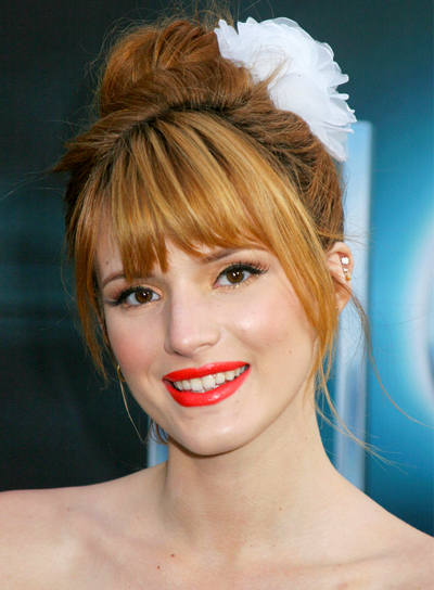 Bella Thorne's Romantic, Formal, Updo Hairstyle with Bangs