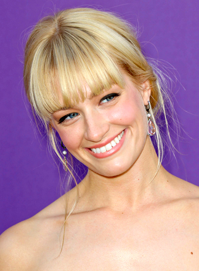 Beth Behrs' Blonde, Romantic, Updo Hairstyle with Bangs
