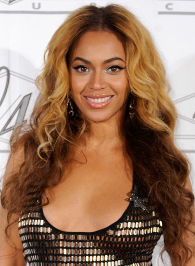 Beyonce Knowles Long, Curly, Brunette Hairstyle