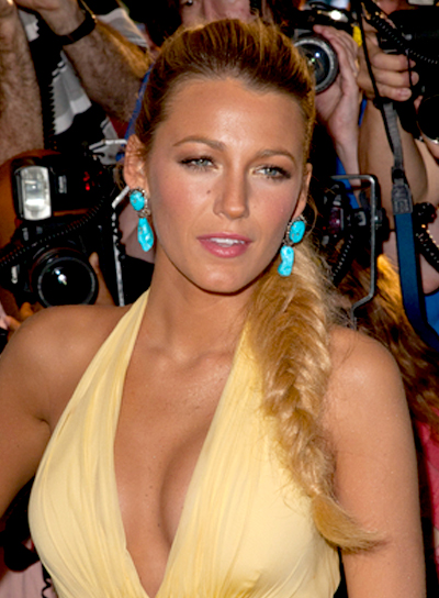 Blake Lively's Long, Blonde, Updo Hairstyle with Braids and Twists