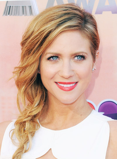 Brittany Snow with a Long, Blonde, Romantic Hairstyle with Braids and Twists