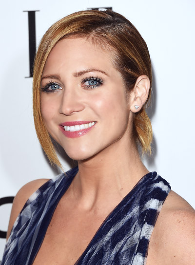 Brittany Snow with a Short, Blonde, Funky Ponytail Hairstyle Pictures
