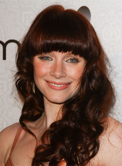 Bryce Dallas Howard Long, Red, Curly Hairstyle with Bangs