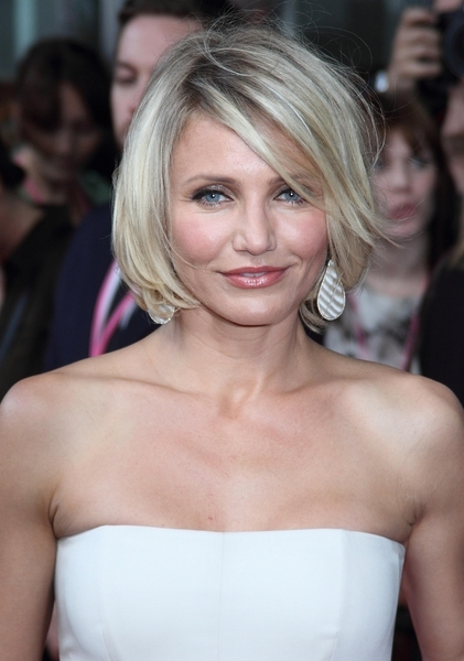Cameron Diaz's Short, Blonde, Chic Hairstyle with Bangs