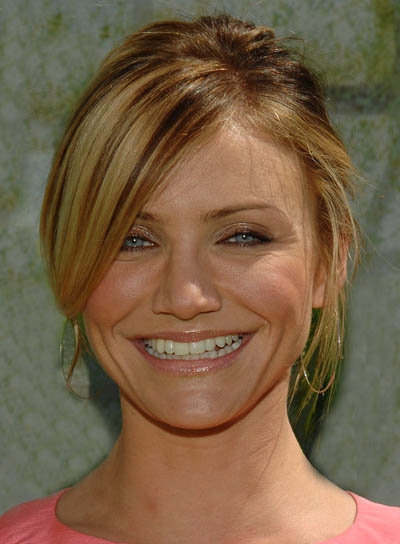 Cameron Diaz Medium-Length Updo with Highlights for Heart-Shaped Faces